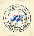Stamp with map flag of Falkland Islands vector image vector image