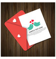 valentines day greetings card with wooden vector image