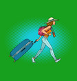 woman traveler with suitcase vector image vector image