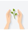 green plant in hands symbol vector image