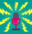 microphone on blue halftone background vector image
