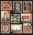 set of postage stamps with uk symbols and flag