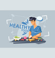 a young guy is preparing lunch healthy diet vector image