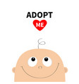 adopt me baby shower greeting card kid face vector image