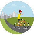 biker riding bicycle vector image