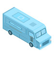 Blue food truck icon isometric style