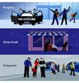 Burglar Icons Banners vector image vector image