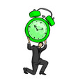 businessman holding big retro alarm clock over vector image