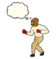 cartoon boxer with thought bubble vector image vector image