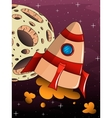 cartoon rocket spaceship with space background vector image vector image
