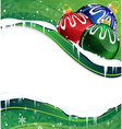 Christmas balls decoration on a green background vector image vector image