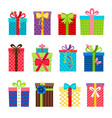 colorful gift boxes with ribbons set vector image