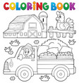 coloring book with farm truck vector image vector image