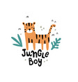 cute tiger and hand lettering text vector image vector image