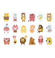 cute toy bear animals set of childish stylized vector image