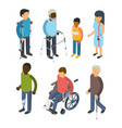 disabilities persons isometric injury invalids vector image vector image