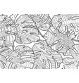 doodling coloring book monstera leaves vector image