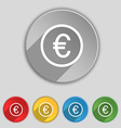 Euro icon sign Symbol on five flat buttons vector image vector image