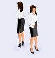 fashion isometric woman 3d front view back view vector image