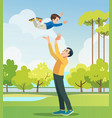 father and son playing in park people having vector image vector image