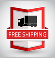 free shipping badge with on white background vector image vector image