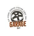 Garage old school service station label Vintage vector image vector image