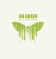 go green eco poster with butterfly save the vector image vector image