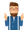 Hopeful hipster man with the beard vector image vector image
