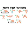 how to wash hands infographic vector image vector image