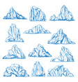 icebergs sketch or hand drawn mountains vector image vector image