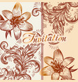 invitation card with lily flowers in retro style vector image vector image