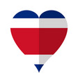 isolated flag of costa rica on a heart shape vector image