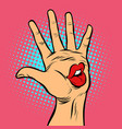 kiss lips mouth emotion hi five hand gesture vector image