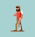 lumberjack with axe in hand walking vector image