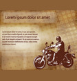 motorcyclist on abstract background vector image vector image