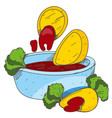 nachos and salsa logo mexican traditional dish vector image vector image