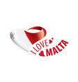 national flag malta in shape a heart vector image vector image