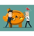 Piggy Bank Breaking By Hammer Business concept vector image vector image