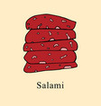 salami in cartoon style vector image