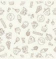 seamless pattern of hand-drawn coffee icons vector image vector image