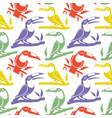seamless pattern with birds toucans on branches vector image