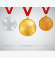 set medals gold silver bronze vector image