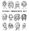 Set of female doodle hand drawn portraits Black vector image vector image