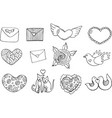 sticker set for valentine s day - coloring page vector image vector image