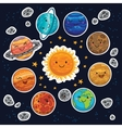 Sticker set of solar system with cartoon planets