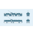 trolleybus front side back view line style vector image