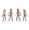 young red-haired man and woman walking vector image
