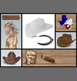 designer set for cowboy vector image