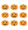 halloween pumpkin icon set with emoji scary vector image