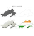 Arunachal Pradesh blank outline map set vector image vector image